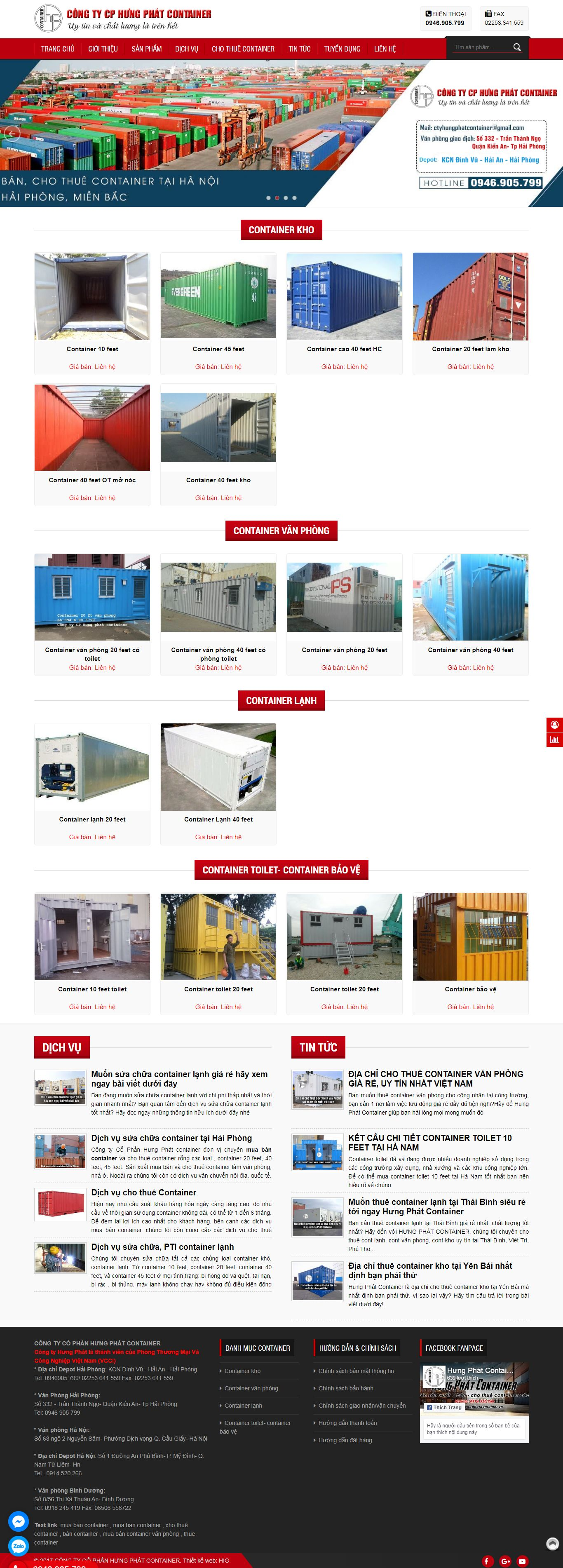 Thiết kế Web mua bán container - hungphatcontainer.com